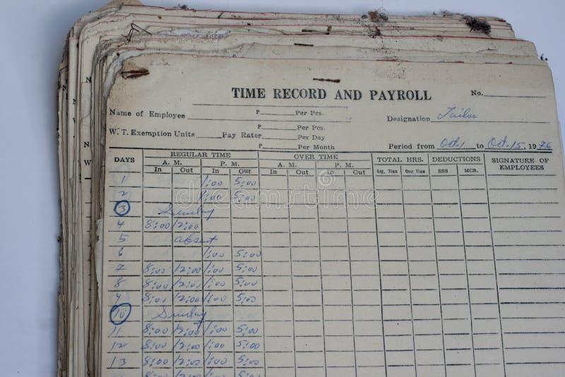 Enregistrement et masse salariale anciens photo libre de droits