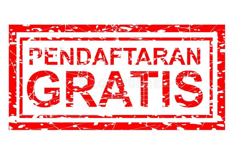 Enregistrement gratuit de Pendaftaran d'effet de tampon en caoutchouc gratuitement dans la langue de l'Indonésie illustration de vecteur