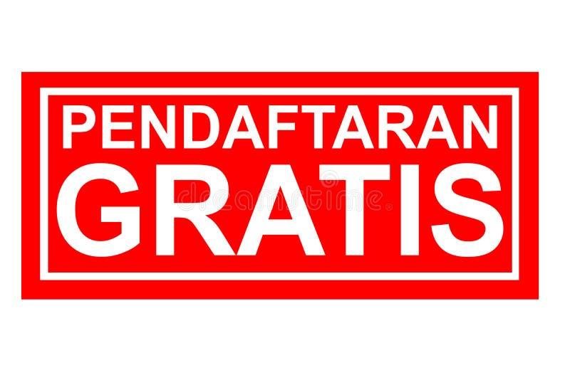 Enregistrement gratuit de Pendaftaran d'effet de tampon en caoutchouc gratuitement dans la langue de l'Indonésie illustration libre de droits