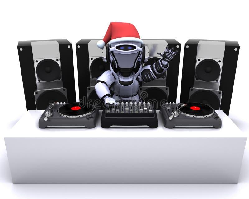 Enregistrements de mélange du DJ de robot de Noël sur des plaques tournantes illustration de vecteur