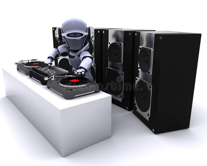 Enregistrements de mélange du DJ de robot sur des plaques tournantes illustration libre de droits