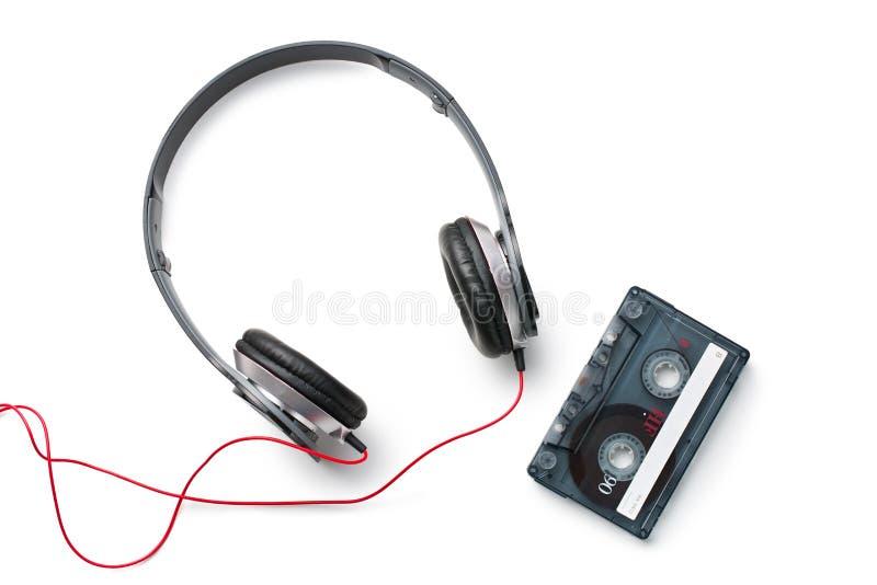 Enregistreur à cassettes et écouteurs photo libre de droits
