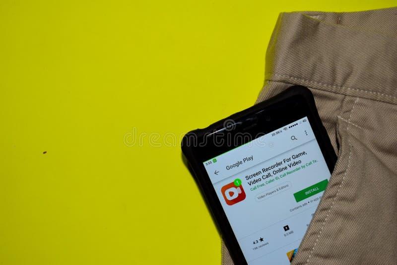 Enregistreur d'écran pour le jeu, appel visuel, application visuelle en ligne de réalisateur sur l'écran de Smartphone image stock