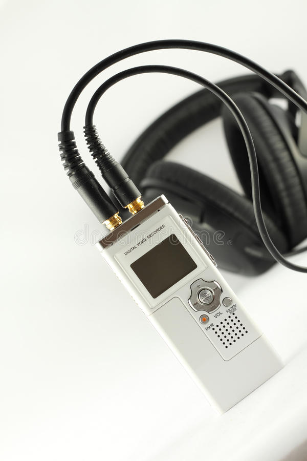 Enregistreur de voix de Digitals et écouteur. image libre de droits