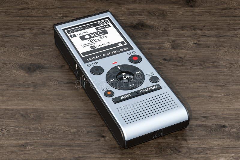 Enregistreur de voix numérique, dictaphone sur la table en bois rende 3D illustration de vecteur