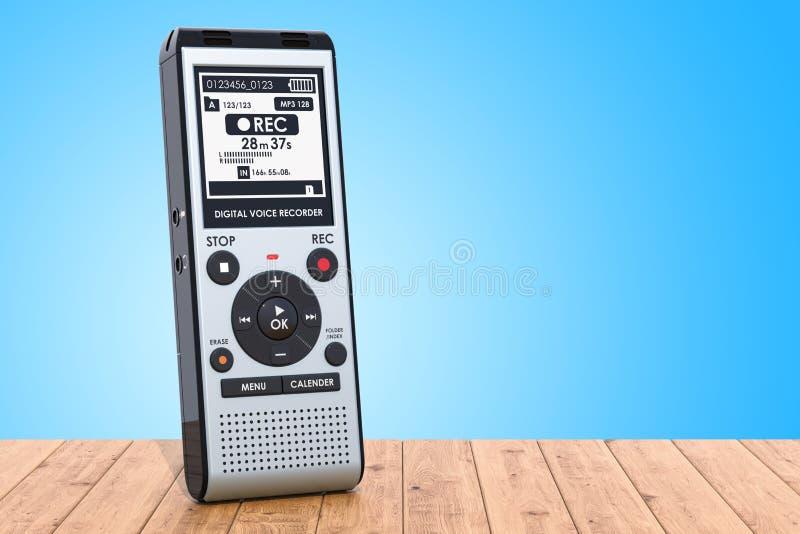 Enregistreur de voix numérique moderne, dictaphone sur la table en bois 3 illustration de vecteur