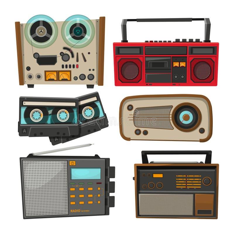 Enregistreurs audio de vintage d'isolement sur le blanc illustration de vecteur