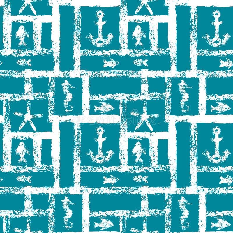 Enrejado azul y blanco náutico del grunge con el ancla, la estrella, el seahorse, y los pescados, modelo inconsútil, vector stock de ilustración