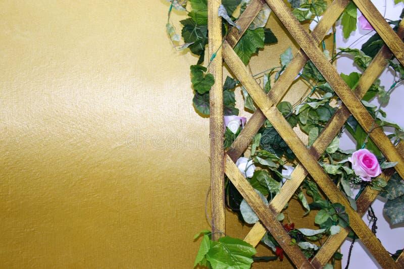 Enrejado de madera del fondo para el rombo de las plantas, cuadrilátero de forma diamantada de la rejilla de madera imágenes de archivo libres de regalías