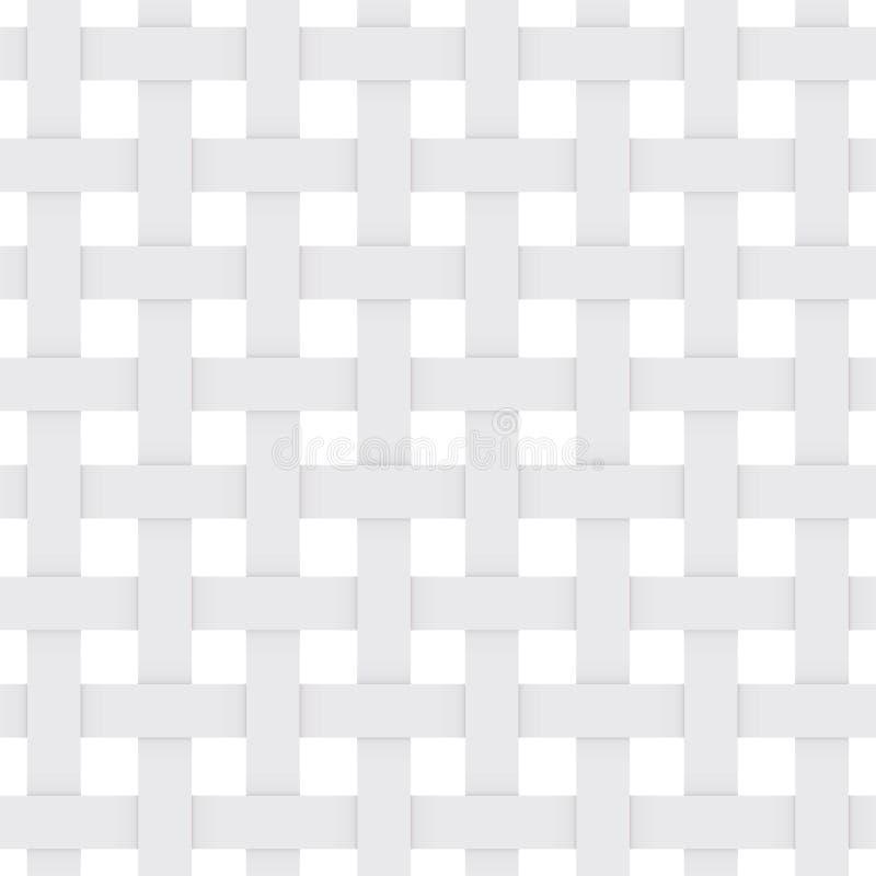 Enrejado del Libro Blanco modelo monocromático inconsútil abstracto fondo geométrico con la sombra Repetición de la estructura Ve stock de ilustración