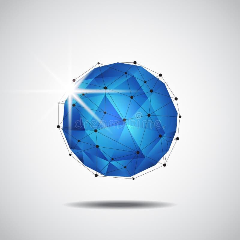 Enrejado geométrico abstracto, fondo de la tecnología ilustración del vector