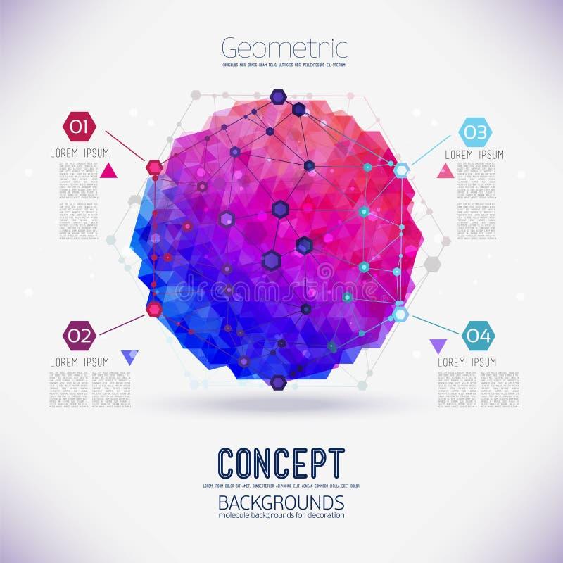 Enrejado geométrico del concepto abstracto, el alcance de las moléculas, las moléculas en el hexágono stock de ilustración