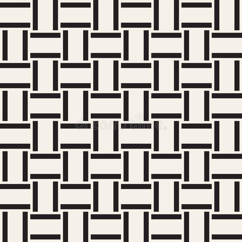 Enrejado monocromático de moda de la armadura de tela cruzada Diseño geométrico abstracto del fondo Vector el modelo inconsútil stock de ilustración