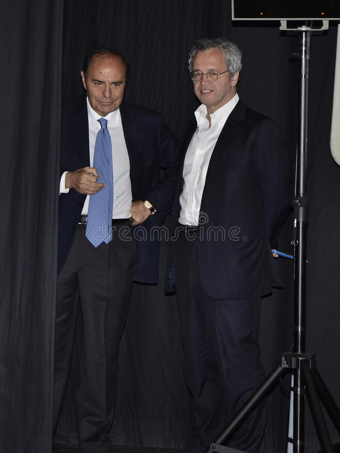 Enrico Mentana en Bruno Vespa stock foto's