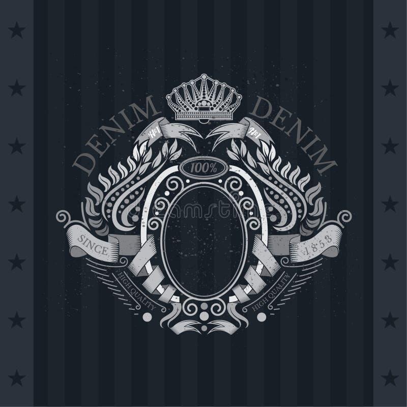Enrolamento das fitas do quadro oval no centro e do Laurel Pattern Around ilustração royalty free