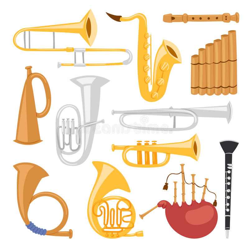 Enrole as ferramentas dos instrumentos musicais isoladas na ilustração acústica do vetor da orquestra do equipamento do músico do ilustração royalty free