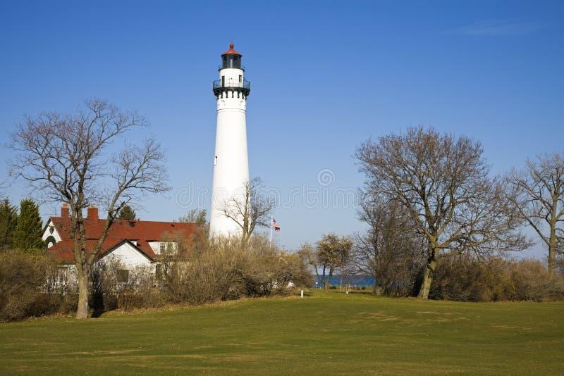 Enrole o farol do ponto - Racine, Wisconsin fotos de stock