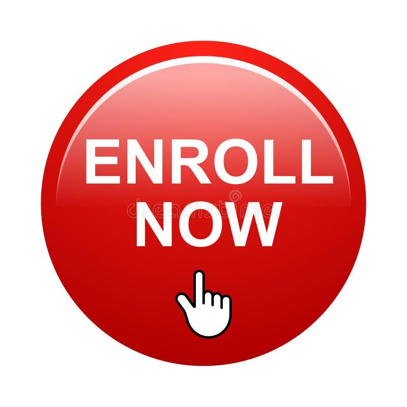 Enroll now button stock photos