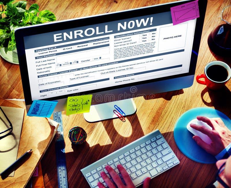Enroll Now Registration Membership Concept stock photos