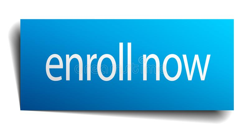 Enroll now sign. Enroll now square paper sign isolated on white background. enroll now button. enroll now stock illustration