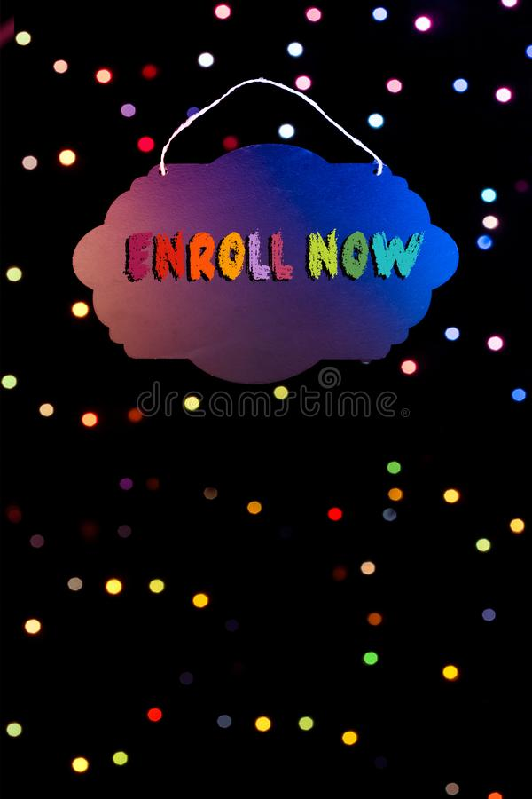 Enroll now wording written on sign board in hand vector illustration