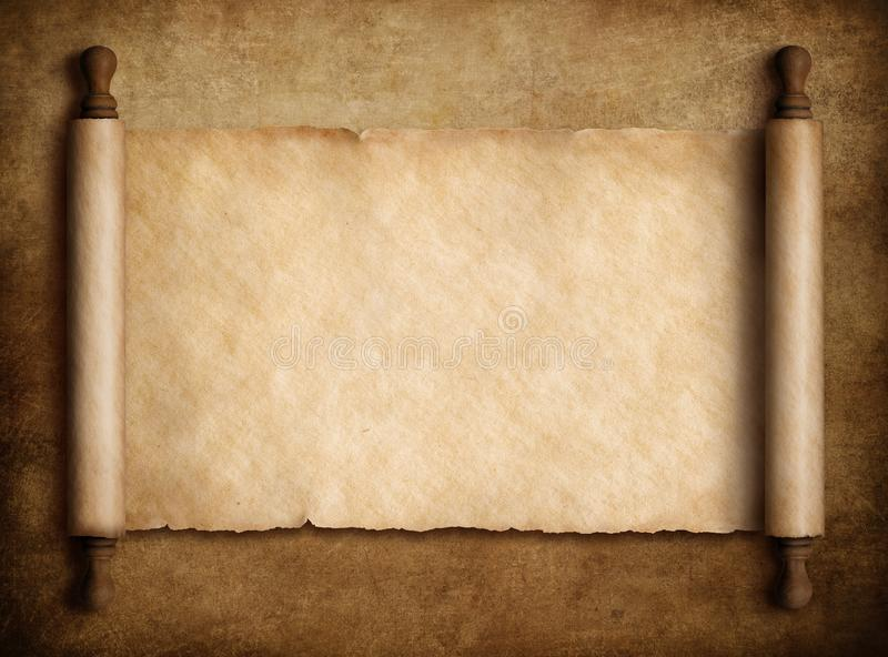 Enrolle el pergamino sobre el viejo ejemplo de papel del fondo 3d libre illustration