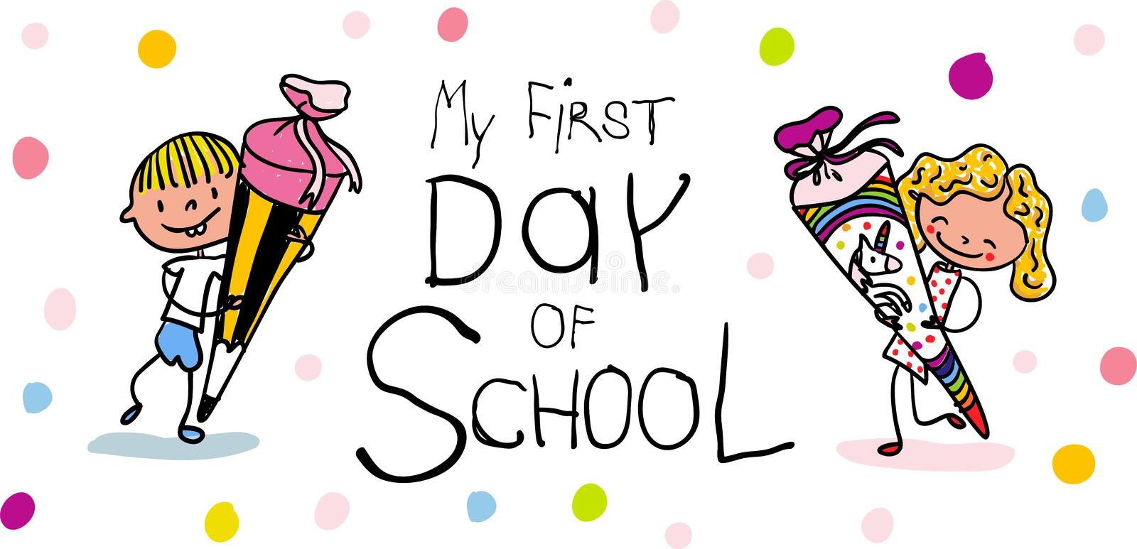 Enrollment - First Day of school - Cute first graders with school cones - colorful hand drawn cartoon vector illustration