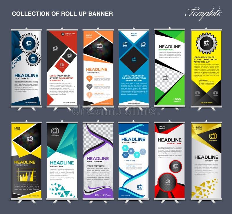 Enroulez la collection de calibre de bannière, vecteur de calibre d'affichage de support illustration stock