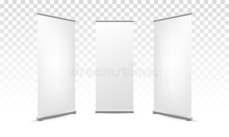 Enroulez la maquette vide blanche de vecteur de bannière de X illustration de vecteur