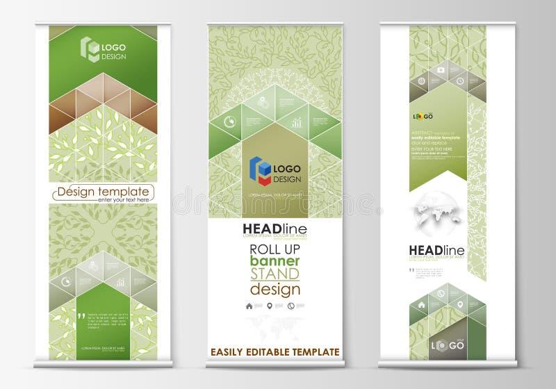 Enroulez les supports de bannière, calibres plats de conception, style géométrique de résumé, insectes verticaux, dispositions de illustration stock