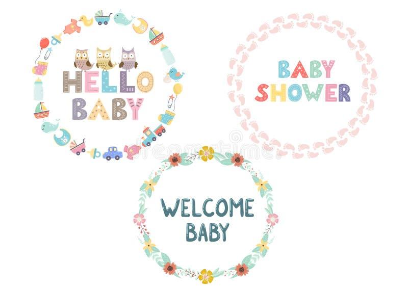 Enrruella la colección para el diseño de la fiesta de bienvenida al bebé Capítulos fijados con las letras exhaustas de la mano stock de ilustración