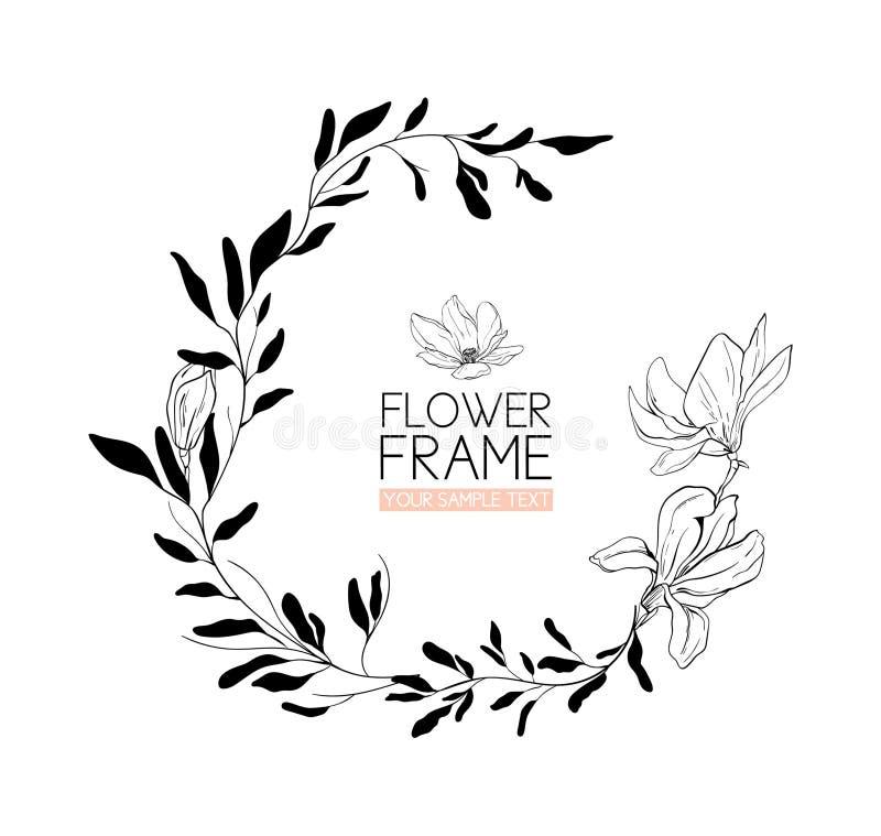 Enrruelle el dibujo y el bosquejo de la flor de la magnolia con línea-arte blanco y negro stock de ilustración