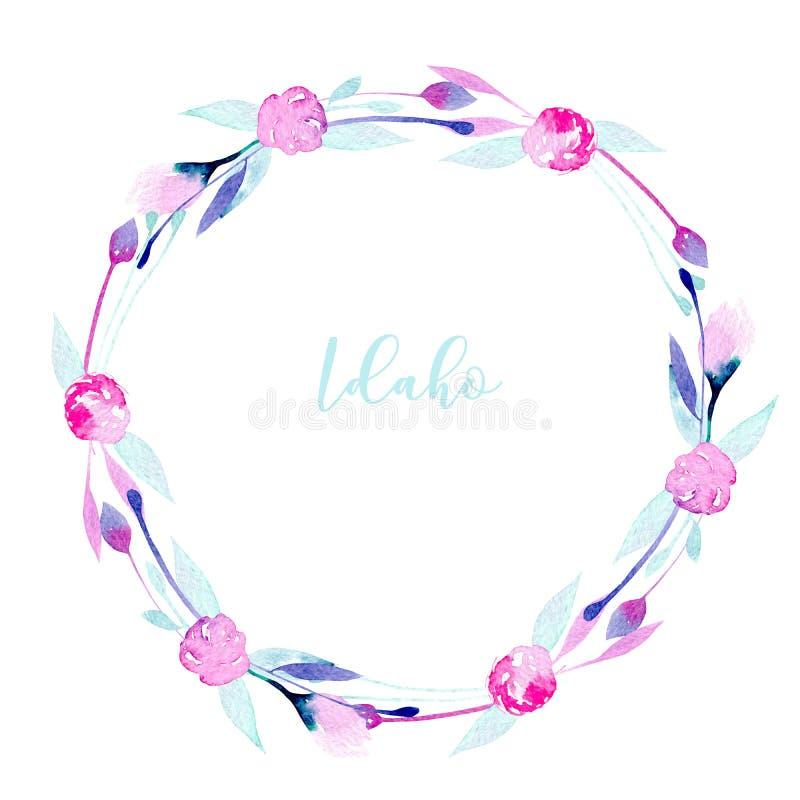 Enrruelle, marco del círculo con los wildflowers simples del rosa de la acuarela y las hojas de menta stock de ilustración