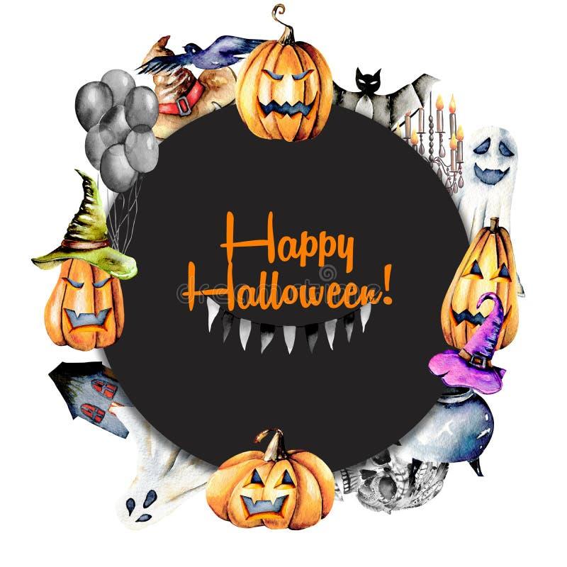 Enrruelle, marco del círculo de las calabazas de los objetos de Halloween de la acuarela en sombreros viejos, los espectros, crán stock de ilustración