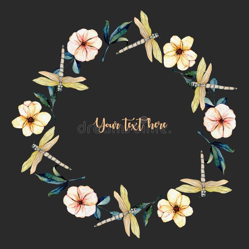 Enrruelle, marco redondo con las libélulas de la oferta de la acuarela, las flores rosadas y las hojas del verde stock de ilustración