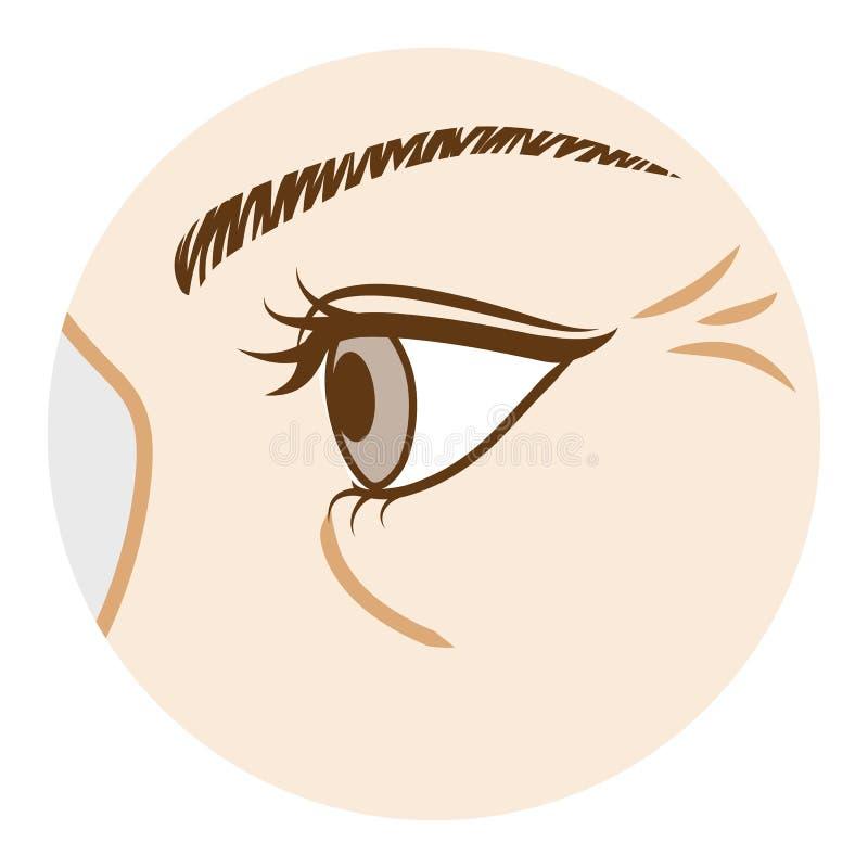Enrugamento do olho - parte do corpo, vista lateral ilustração do vetor