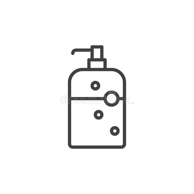 Ensaboe a linha ícone da garrafa do distribuidor, sinal do vetor do esboço, pictograma linear do estilo isolado no branco ilustração stock