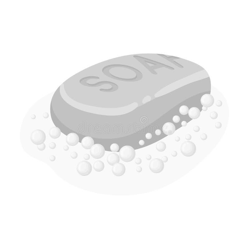 Ensaboe o ícone no estilo monocromático isolado no fundo branco Símbolo da limpeza ilustração do vetor