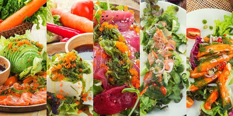 Ensalada asiática con el queso de soja y las verduras frescas mezclados fotos de archivo libres de regalías