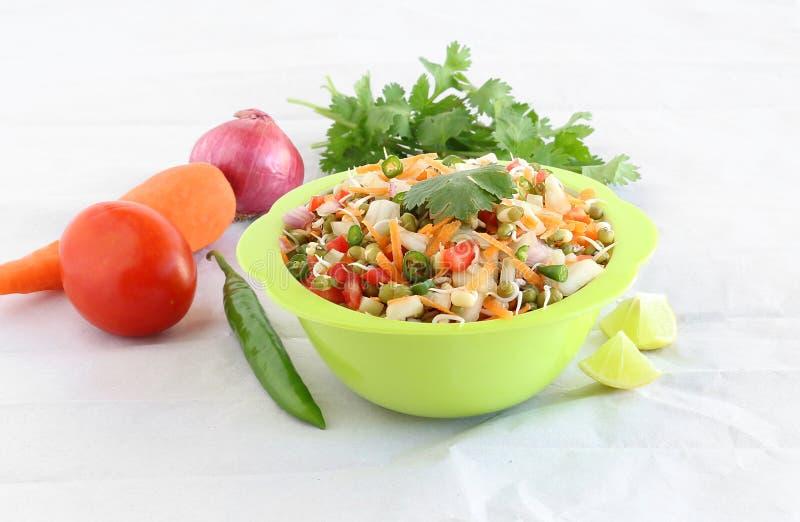 Ensalada brotada comida vegetariana india sana de Moong fotografía de archivo libre de regalías