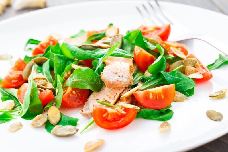Ensalada con el tomate del arugula, de los salmones y de cereza foto de archivo libre de regalías