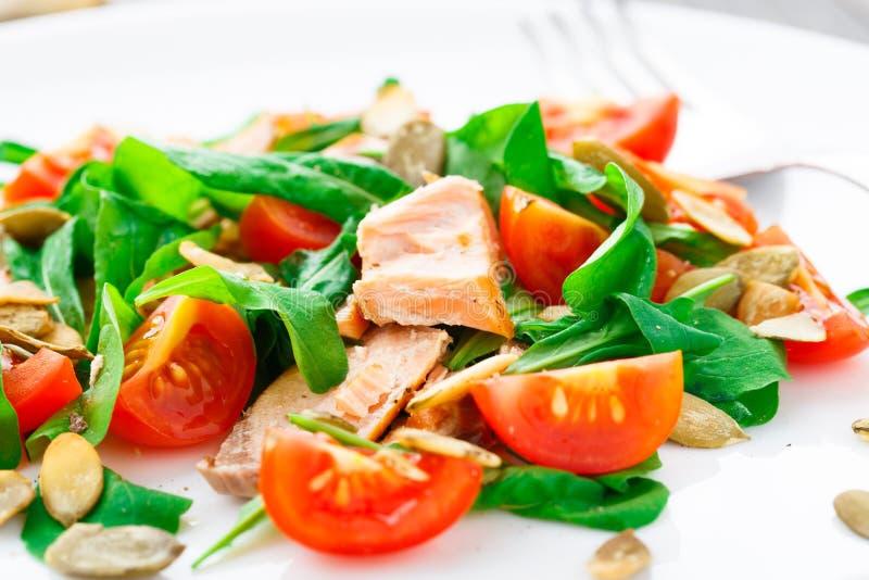Ensalada con el tomate del arugula, de los salmones y de cereza imagen de archivo libre de regalías