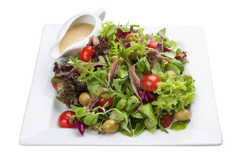 Ensalada con las anchoas y las verduras en una placa blanca imágenes de archivo libres de regalías
