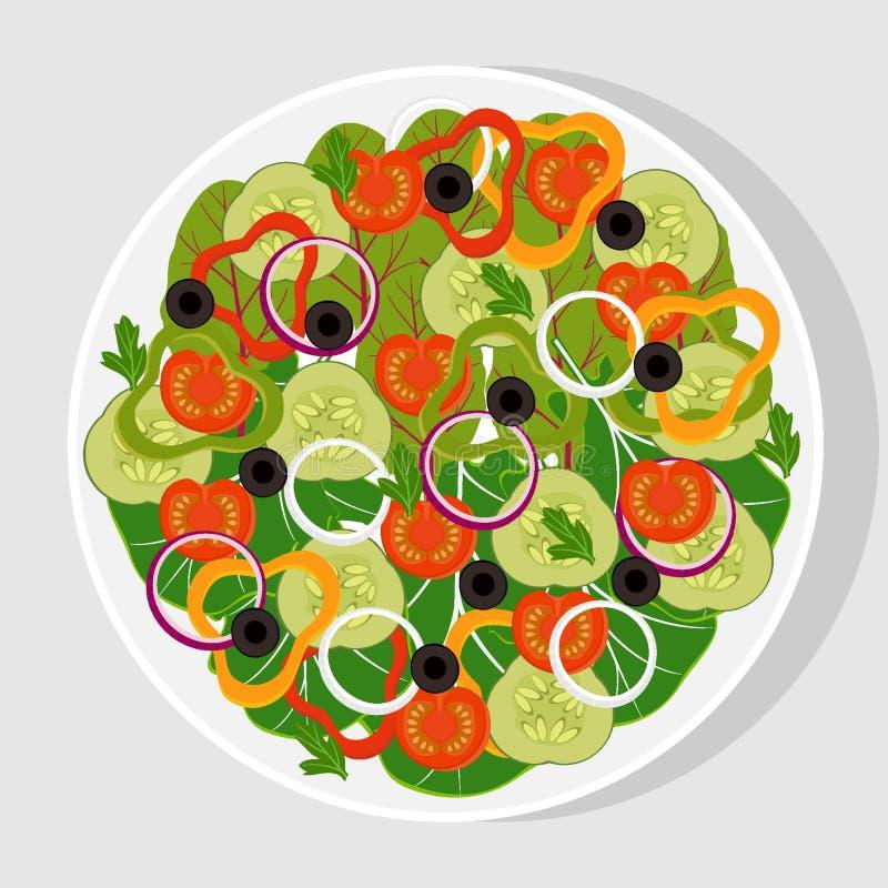 Ensalada con las verduras frescas en una placa plana blanca Tomates, pepinos, cebollas, paprikas, aceitunas negras, lechuga, espi libre illustration