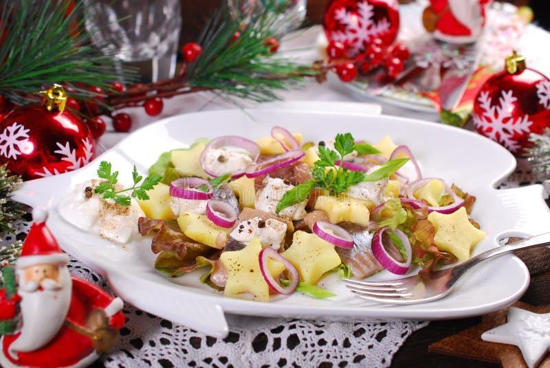 Ensalada de arenques con crema agria, la manzana y la patata para la Navidad fotografía de archivo libre de regalías