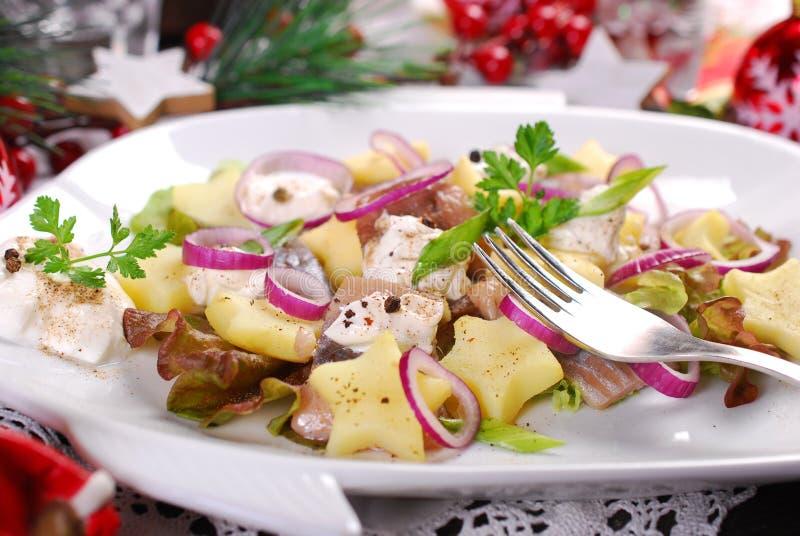 Ensalada de arenques con crema agria, la manzana y la patata para la Navidad foto de archivo