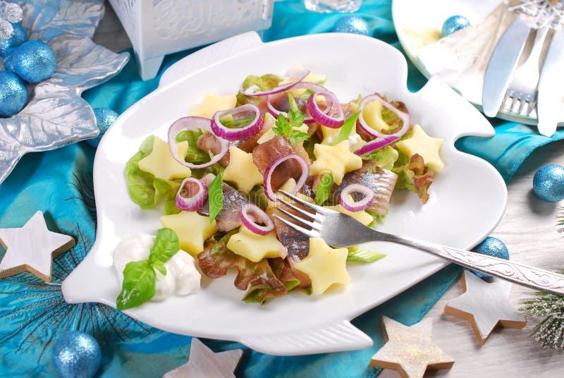 Ensalada de arenques con crema agria, la manzana y la patata para la Navidad imagen de archivo libre de regalías
