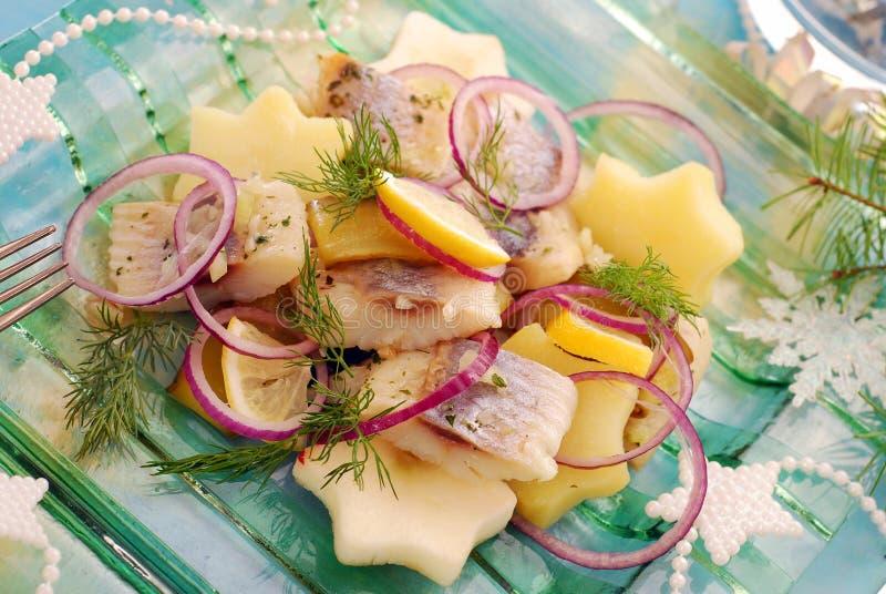 Ensalada de arenques con la patata y la manzana fotos de archivo