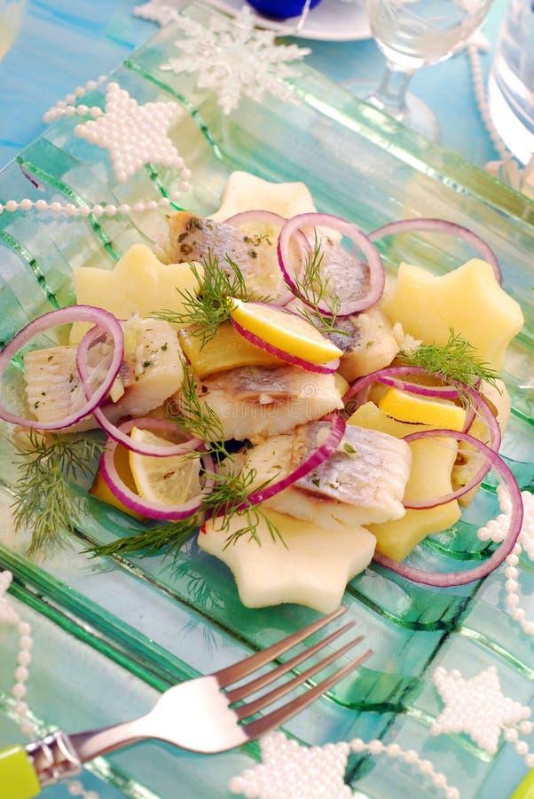 Ensalada de arenques con la patata y la manzana fotos de archivo libres de regalías