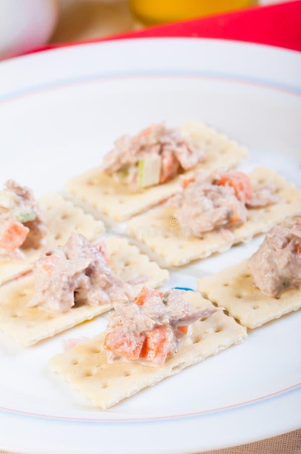 Ensalada de atún en las galletas fotografía de archivo